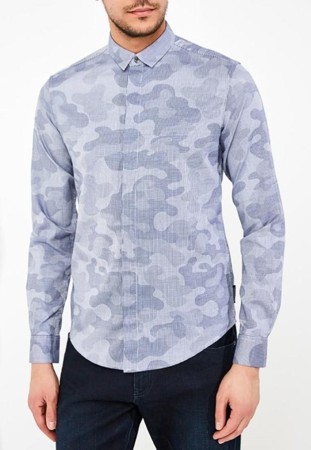 мужские рубашки:милитари бледно синяя