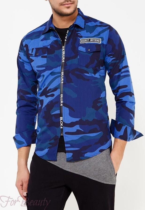 мужские рубашки 2018 года модные тенденции:милитари синяя