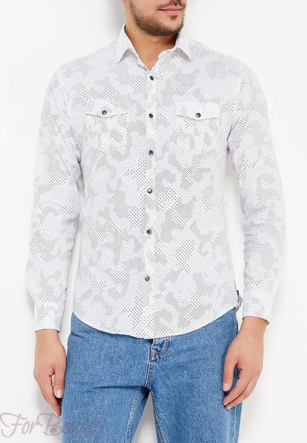 мужские рубашки 2018 года модные тенденции: милитари белая