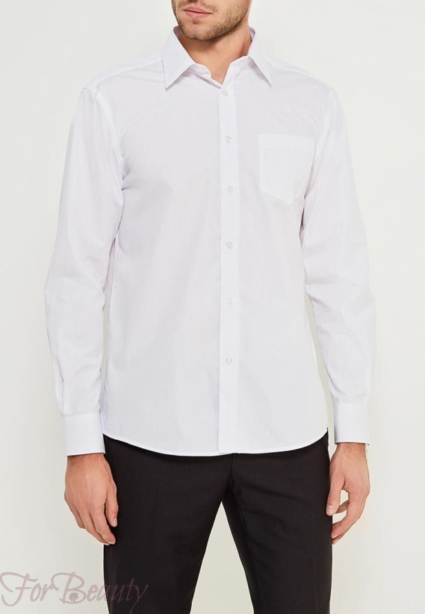 Модная белая мужская рубашка 2018