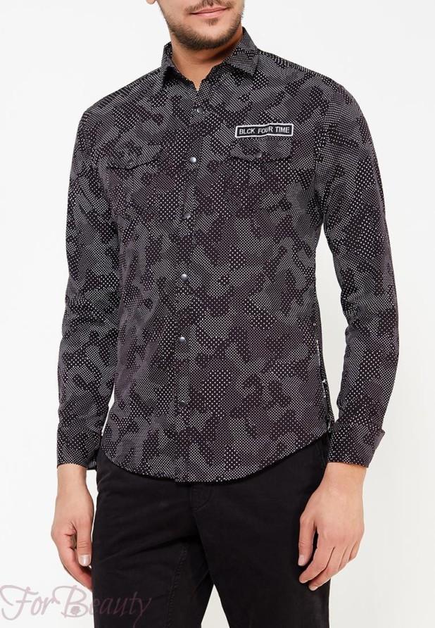 мужские рубашки 2018 года модные тенденции:милитари черная
