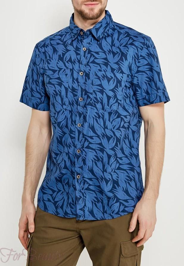 модные мужские рубашки 2018: синяя