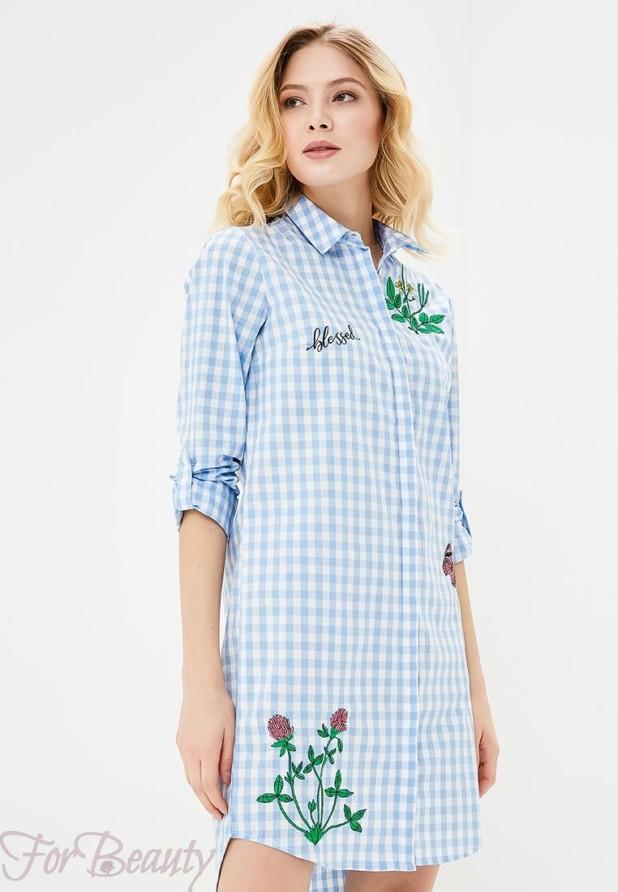 голубое платье рубашка на каждый день 2018