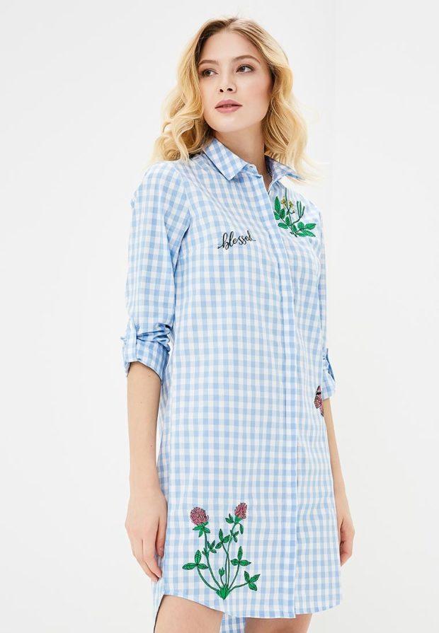 стильное платье на каждый день: голубое рубашка
