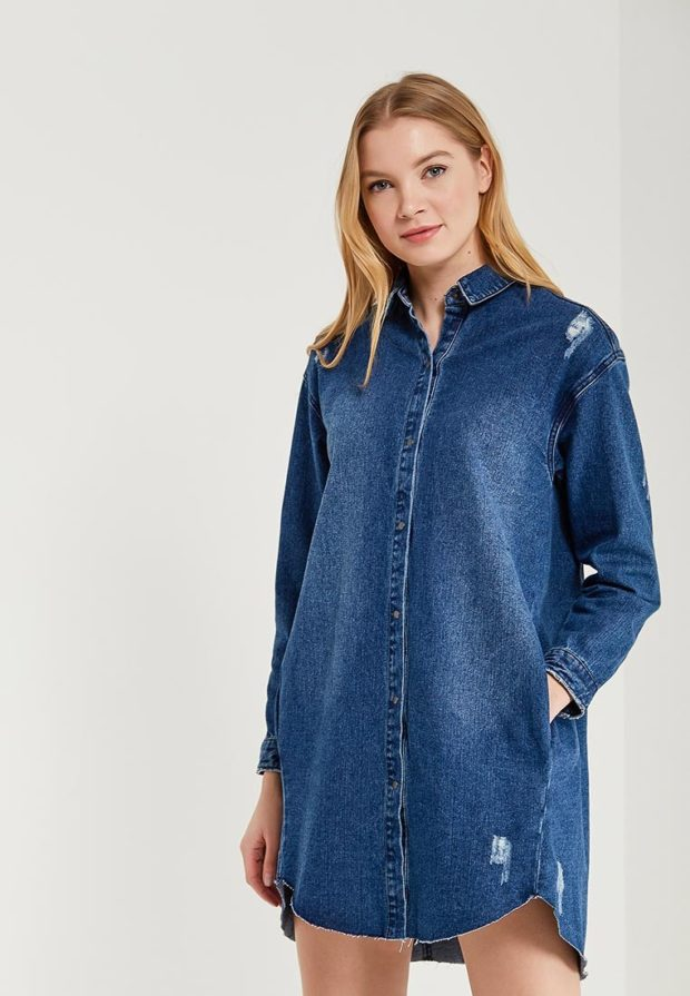 стильное платье на каждый день: джинсовое рубашка