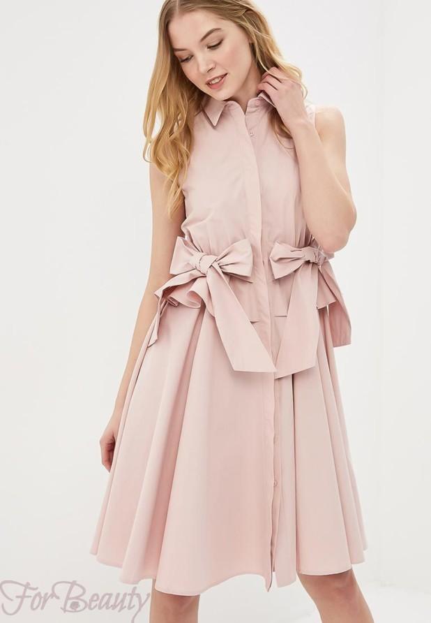 розовое платье рубашка на каждый день 2018