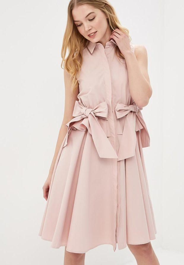 стильное платье на каждый день: розовое рубашка