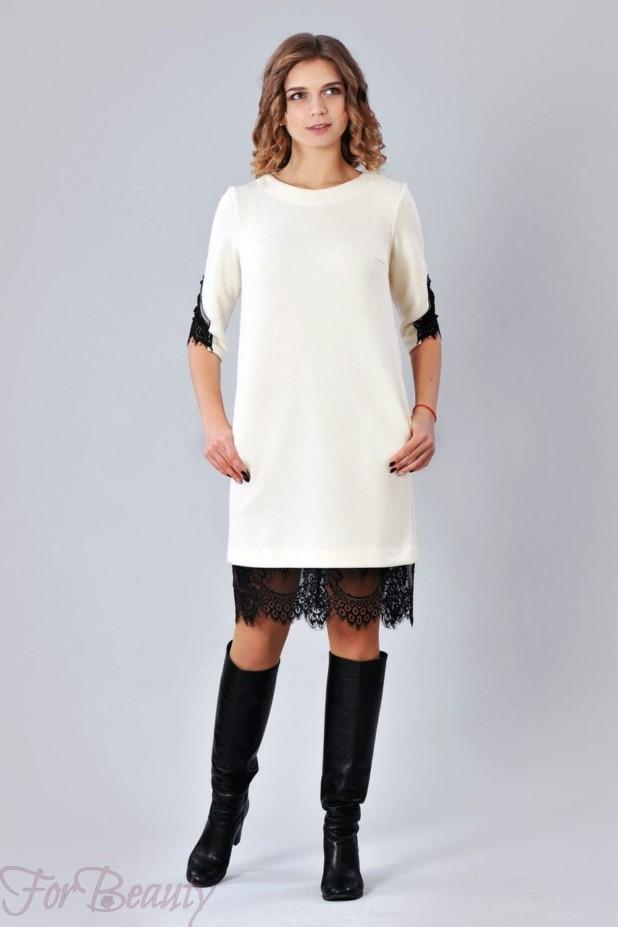 Трикотажное белое платье на каждый день 2018