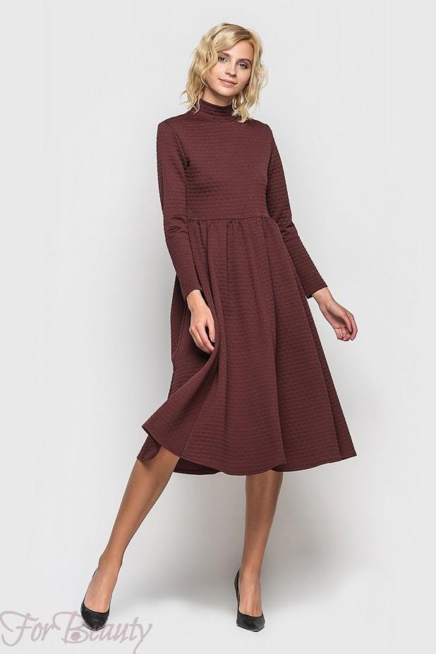 Трикотажное бардовое платье на каждый день 2018