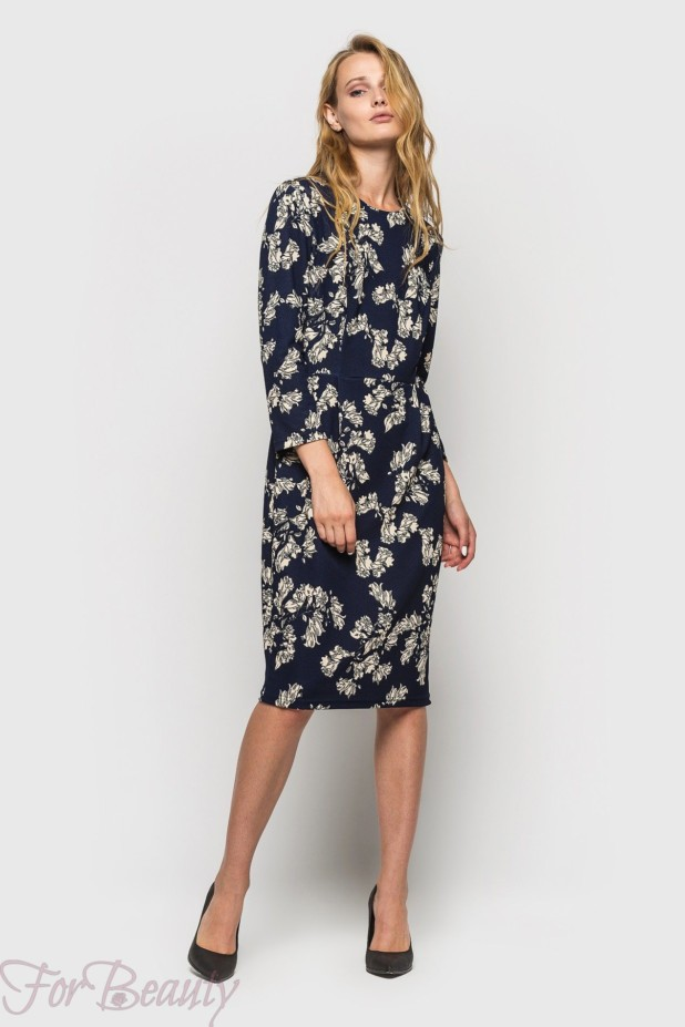 Трикотажное в цветок платье на каждый день 2018