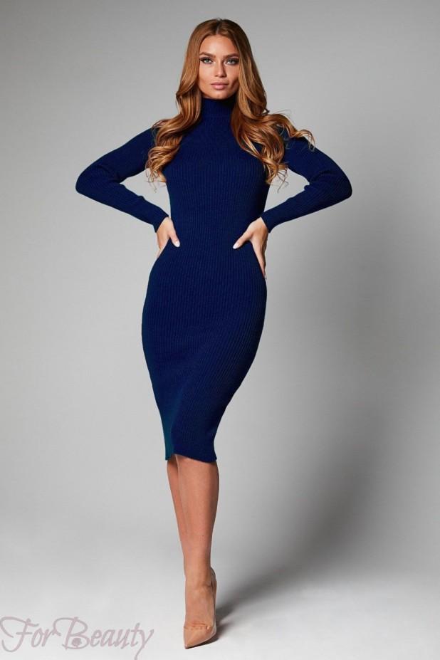 Трикотажное синее платье на каждый день 2018