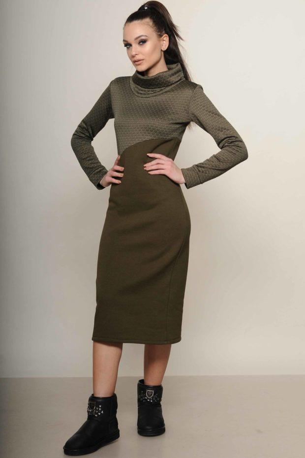 стильное платье на каждый день: Трикотажное болотное