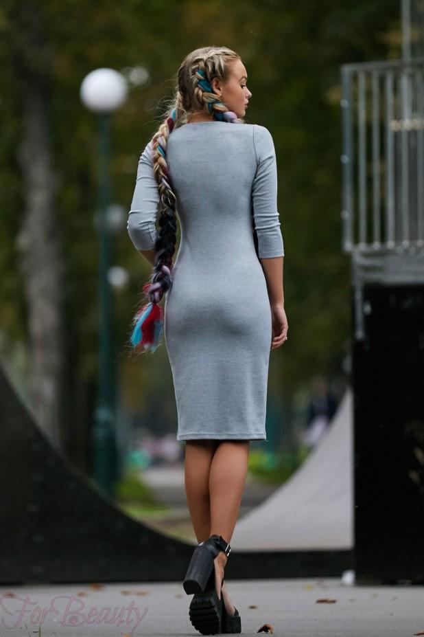 Трикотажное серое платье на каждый день 2018