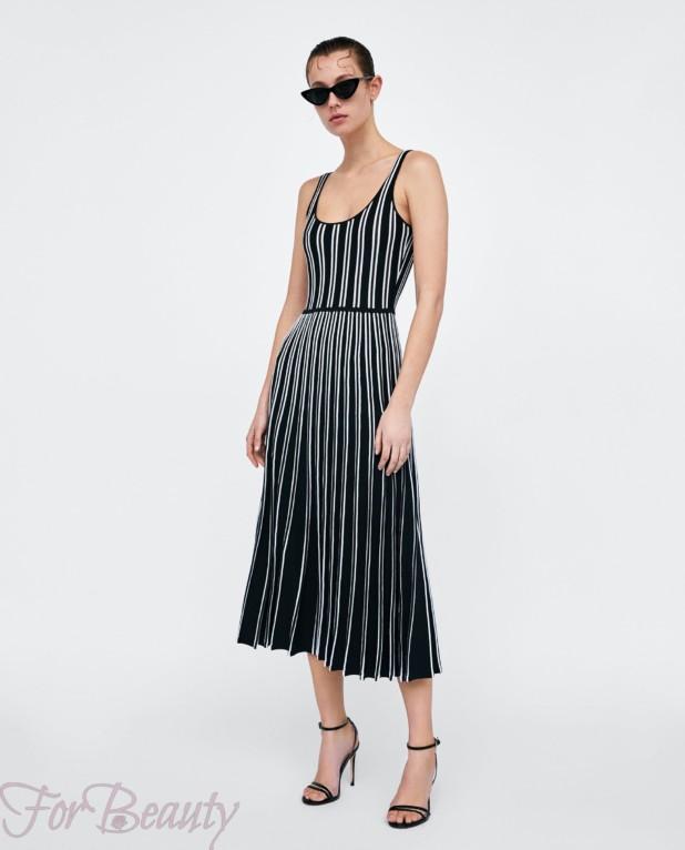 черное в полоску платье на каждый день 2018