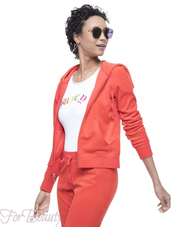 оранжевый велюровый спортивный костюм 2018