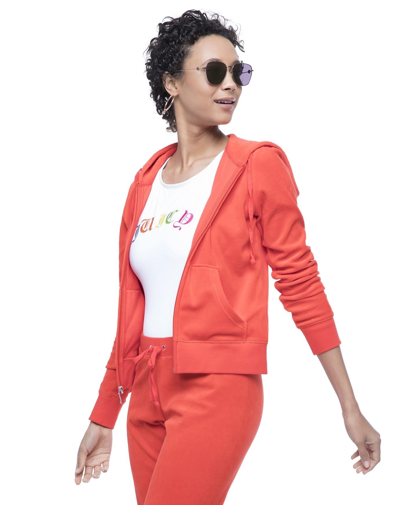 спортивный костюм женский модный 2018 2019: оранжевый велюровый