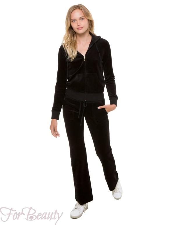 спортивный костюм женский модный 2018 2019: черный велюровый