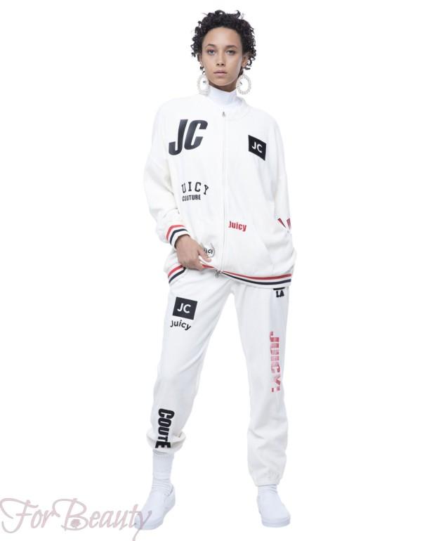 спортивный костюм женский модный 2018 2019: белый велюровый