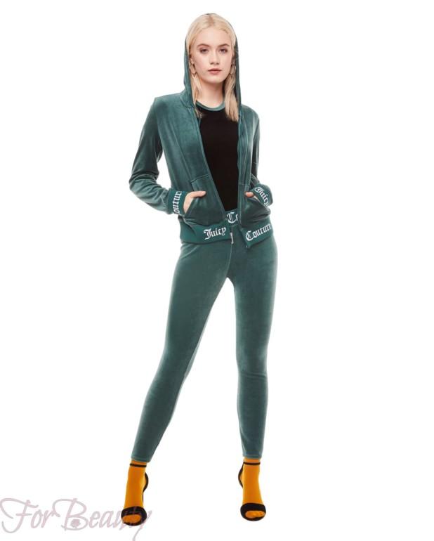 зеленый велюровый спортивный костюм 2018
