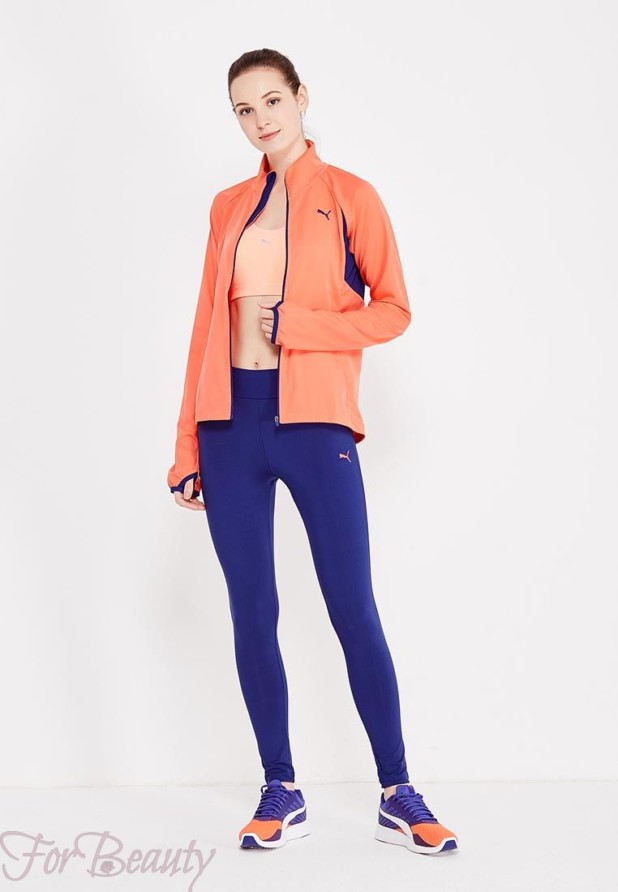 модные спортивные костюмы 2018 2019 женские фото: синий с оранжевым