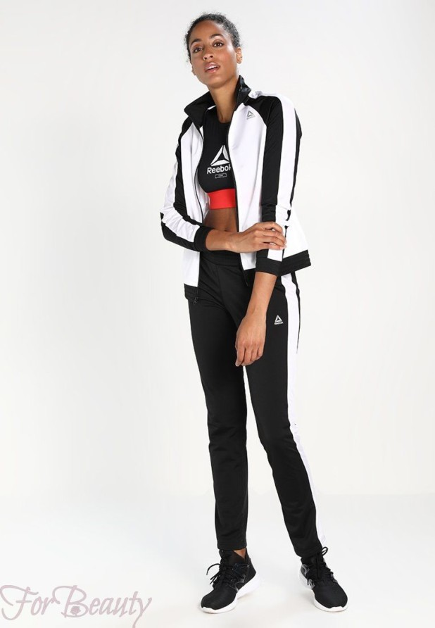 спортивный костюм женский 2018 2019: черный с белым