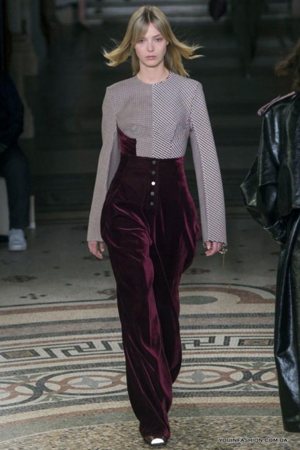 модные брюки в 2018-2019 году для женщин: бархатные бордовые