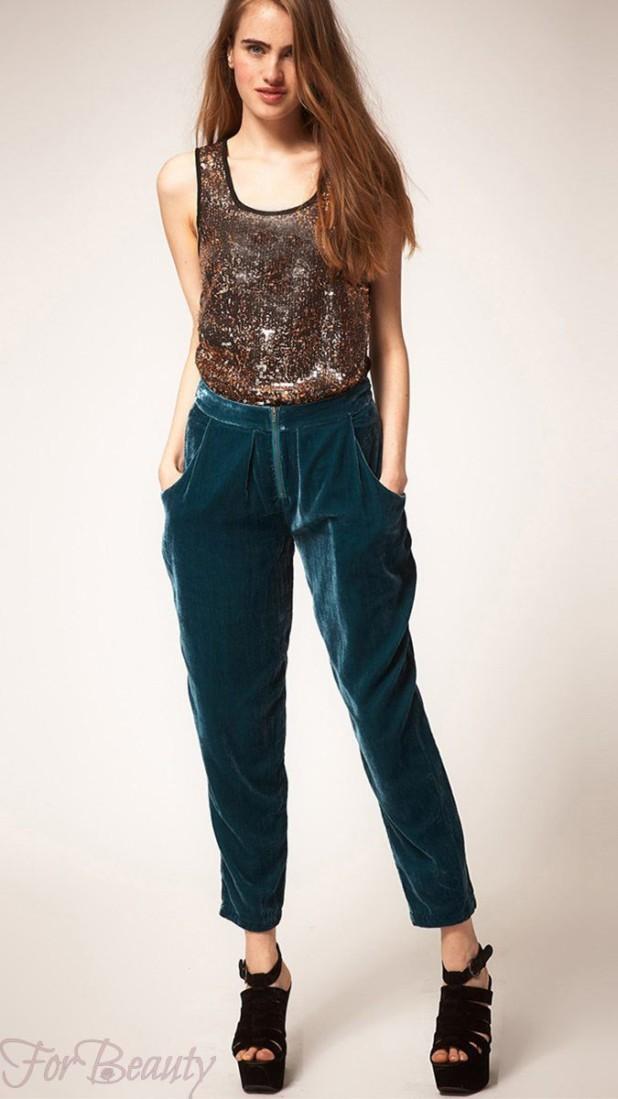 модные брюки в 2019 году для женщин: бархатные зеленые