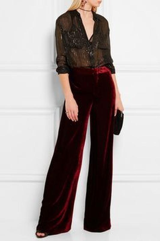 модные брюки в 2019 году для женщин: бархатные красные