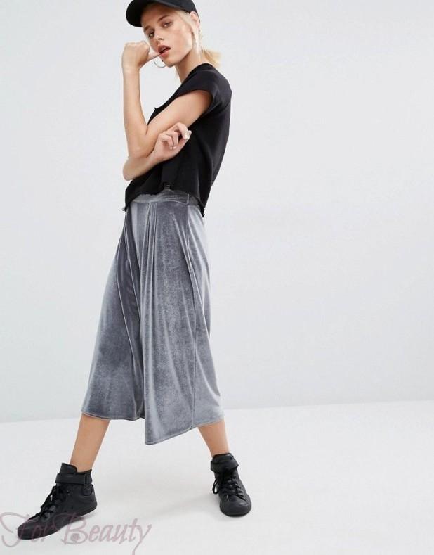 модные брюки в 2019 году для женщин: бархатные как юбка