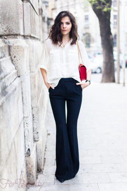 брюки женские 2019: клеш темные