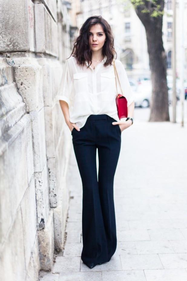 женские брюки: клеш темные