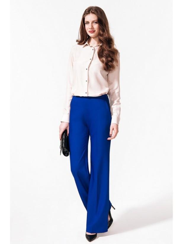 женские брюки: клеш синие