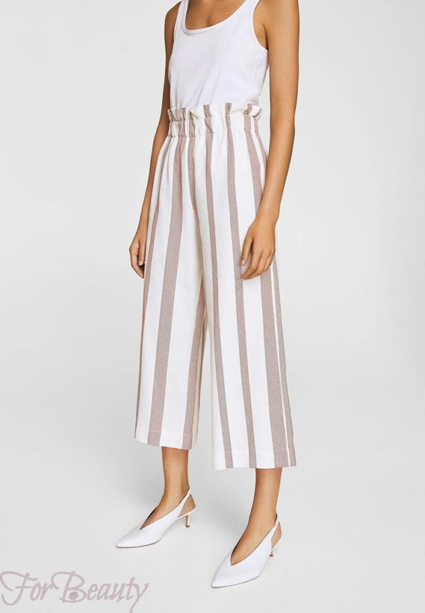 женские брюки 2019 года модные тенденции фото: белые в полоску широкие