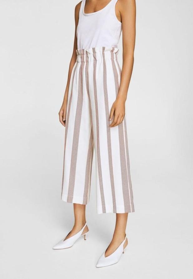 женские брюки 2018-2019 года: белые в полоску широкие