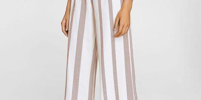 Модные белые в полоску брюки 2018