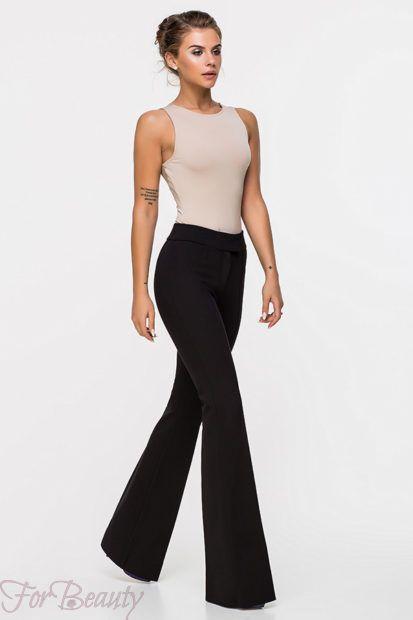 брюки женские 2019: клеш черные