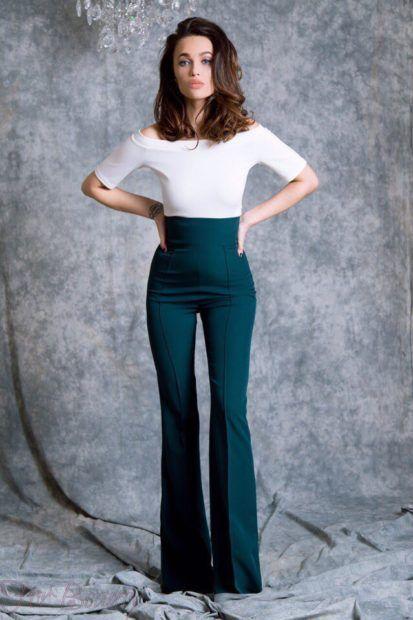 брюки женские 2019: клеш болотные