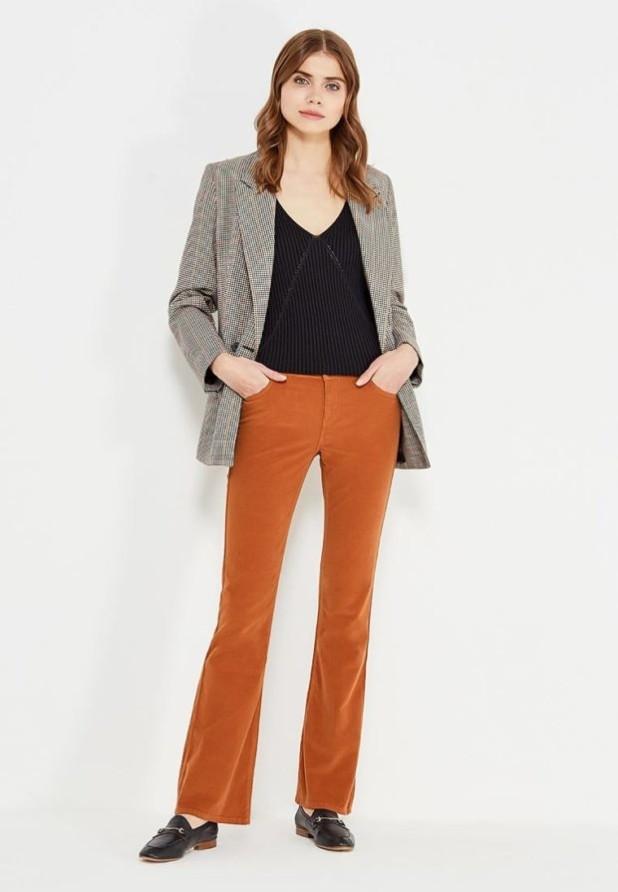 женские брюки: клеш коричневые