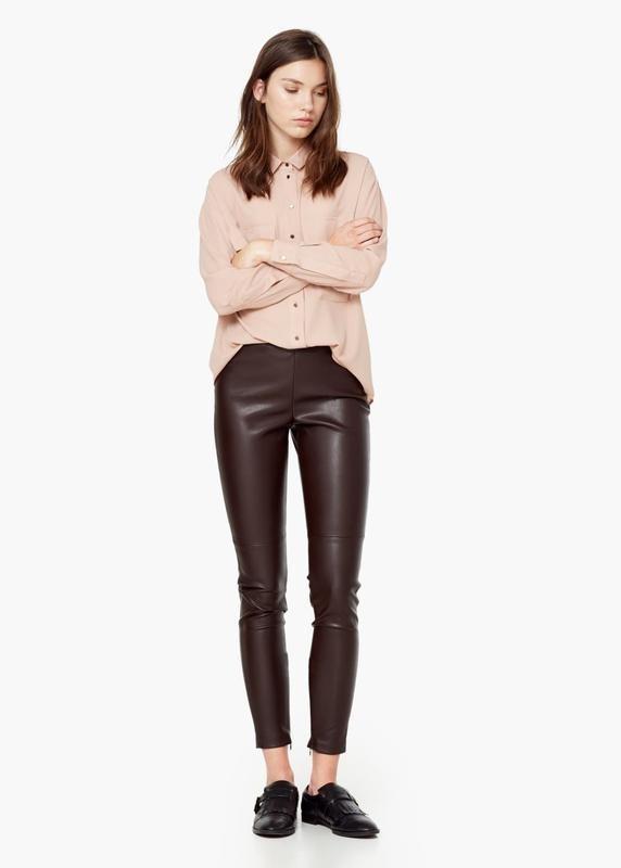 женские брюки: кожаные коричневые
