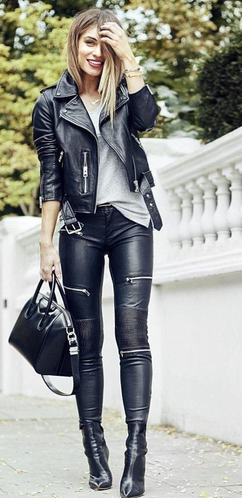женские брюки: кожаные черные