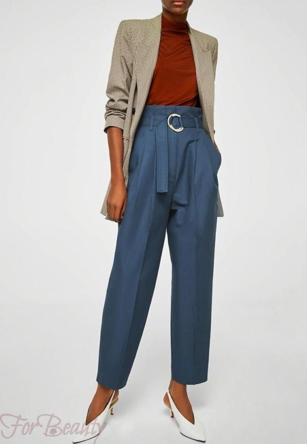 женские брюки 2019 года модные тенденции фото: синие широкие с поясом