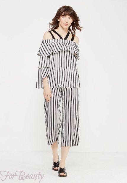 модные брюки 2019 женские: полосатые кюлоты