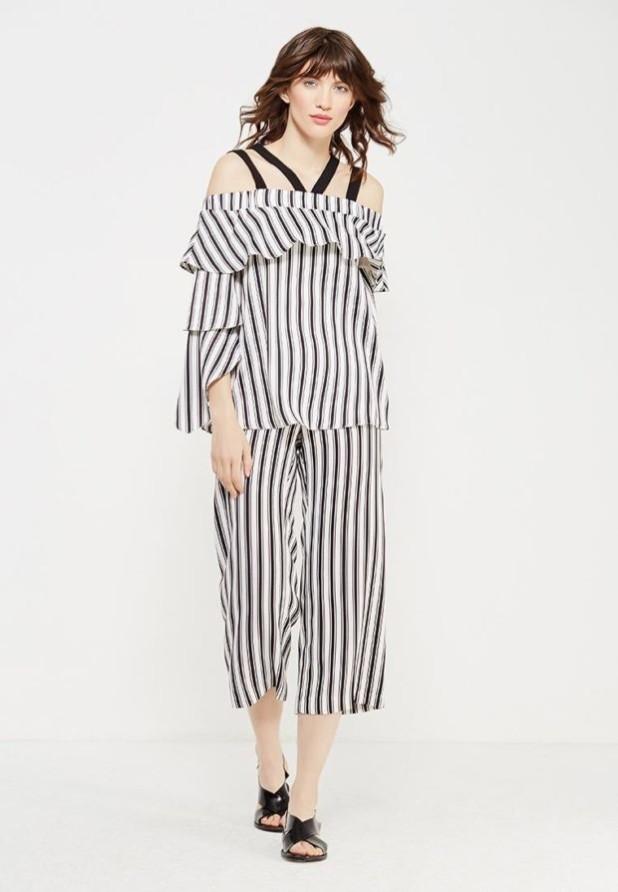 модные женские брюки: полосатые кюлоты