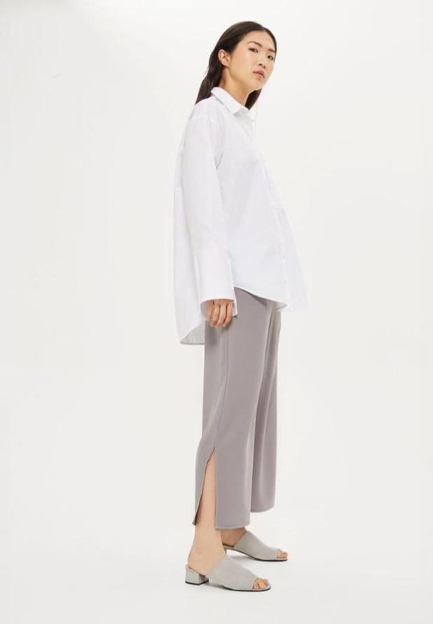 модные женские брюки: серые кюлоты