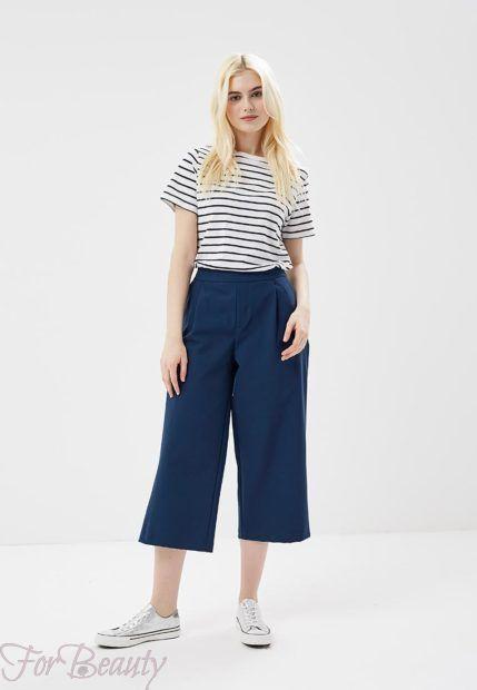 модные брюки 2019 женские: синие кюлоты