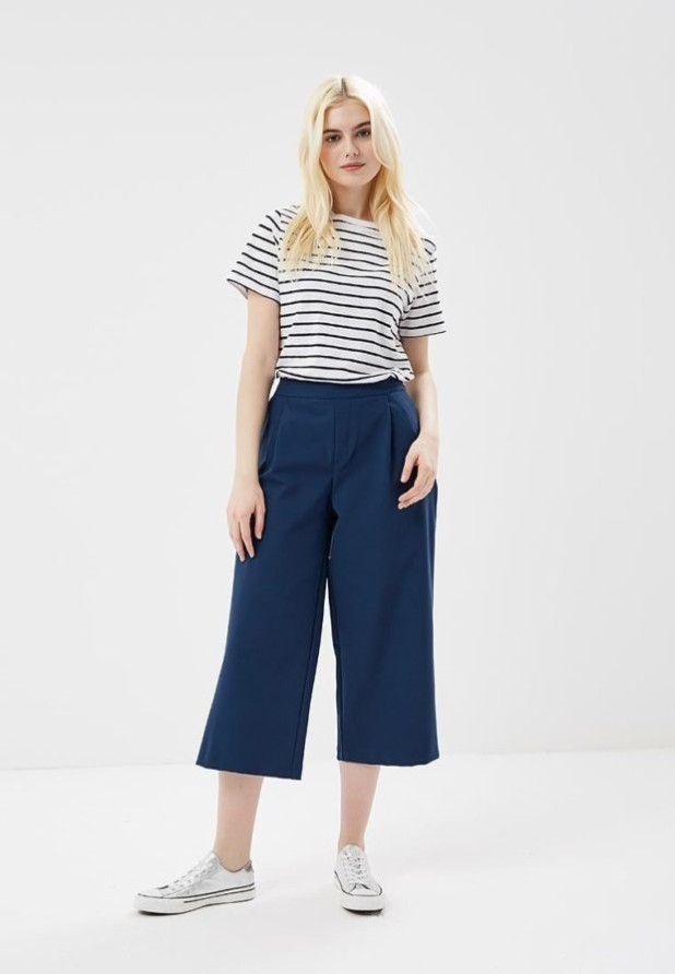 модные женские брюки: синие кюлоты