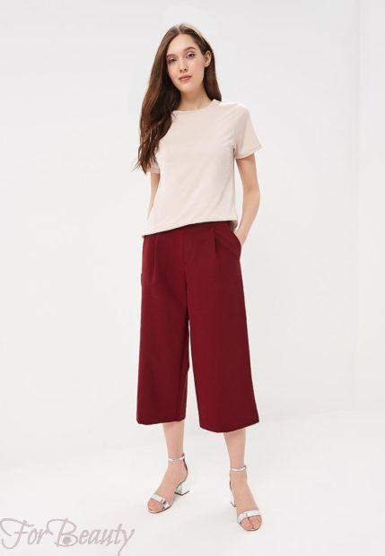 модные брюки 2019 женские: бордовые кюлоты