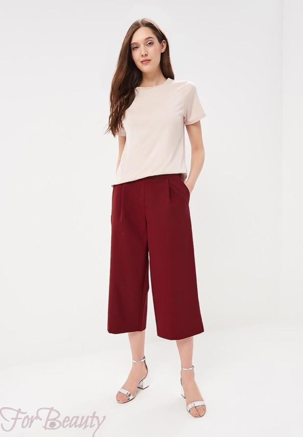 Модные бардовые брюки кюлоты 2018 год