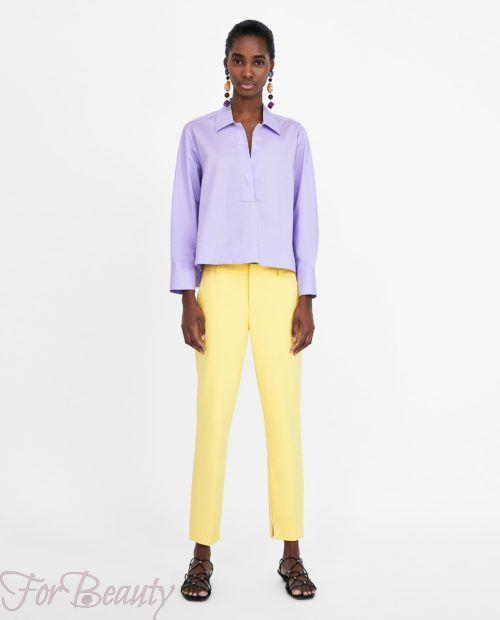 модные брюки 2019 женские: желтые 7/8