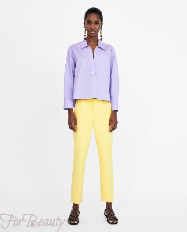 модные желтые брюки 7/8 2018 год